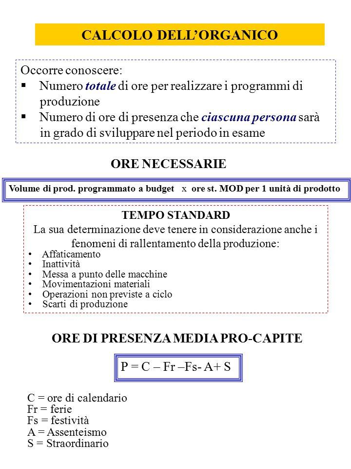 CALCOLO DELL'ORGANICO