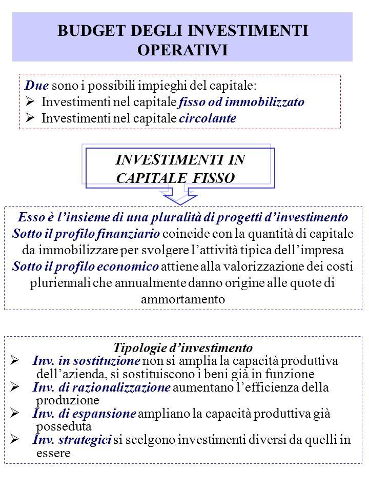 BUDGET DEGLI INVESTIMENTI OPERATIVI