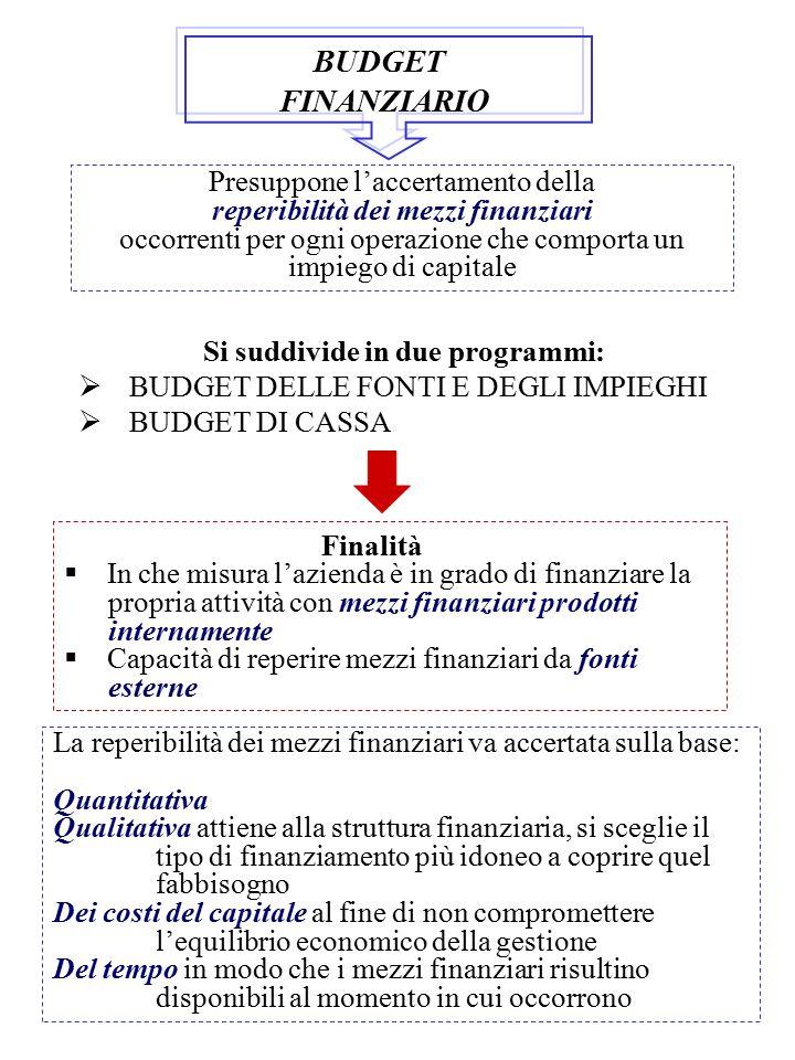 BUDGET FINANZIARIO Presuppone l'accertamento della