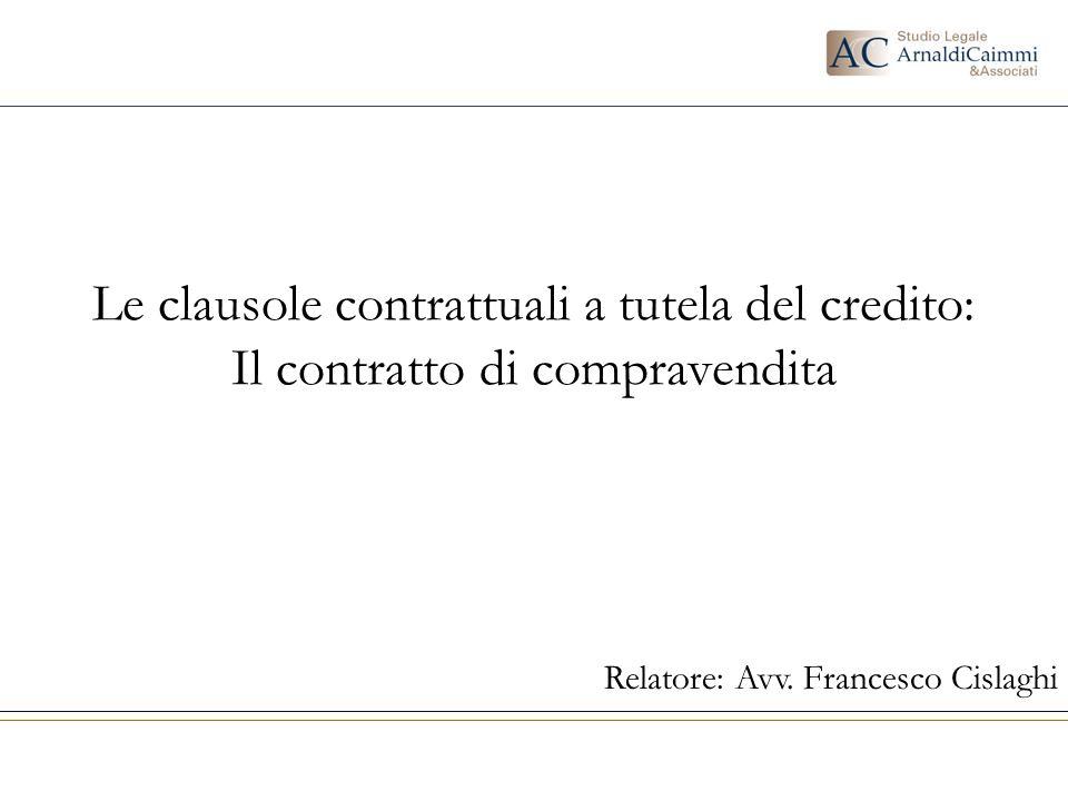 Relatore: Avv. Francesco Cislaghi
