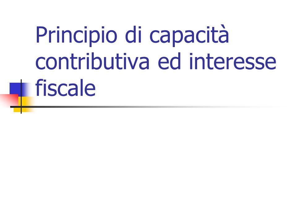 Principio di capacità contributiva ed interesse fiscale