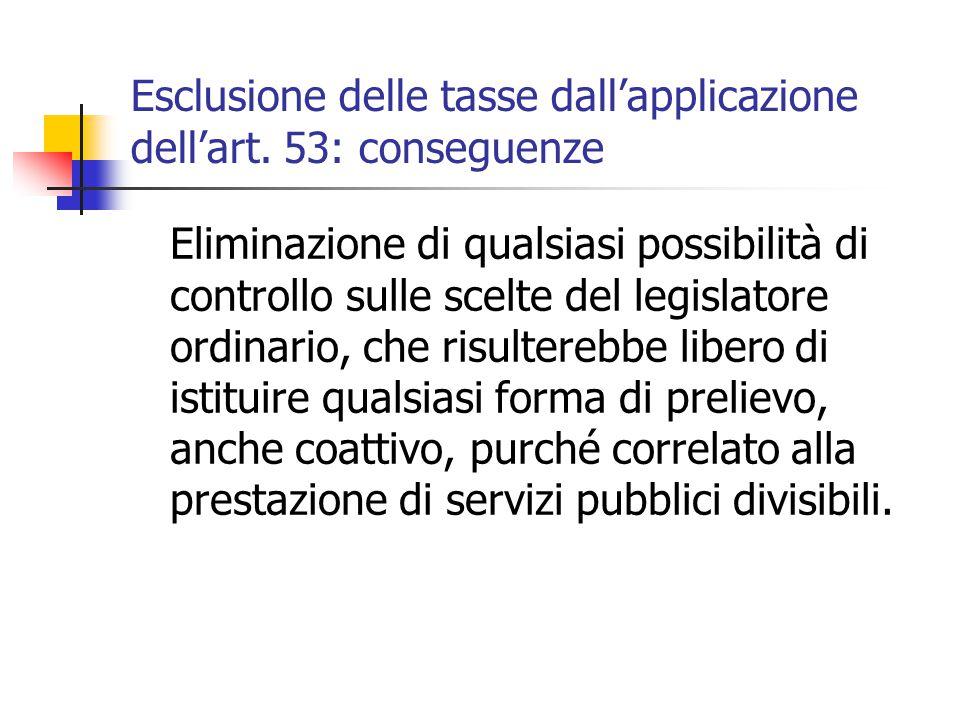 Esclusione delle tasse dall'applicazione dell'art. 53: conseguenze