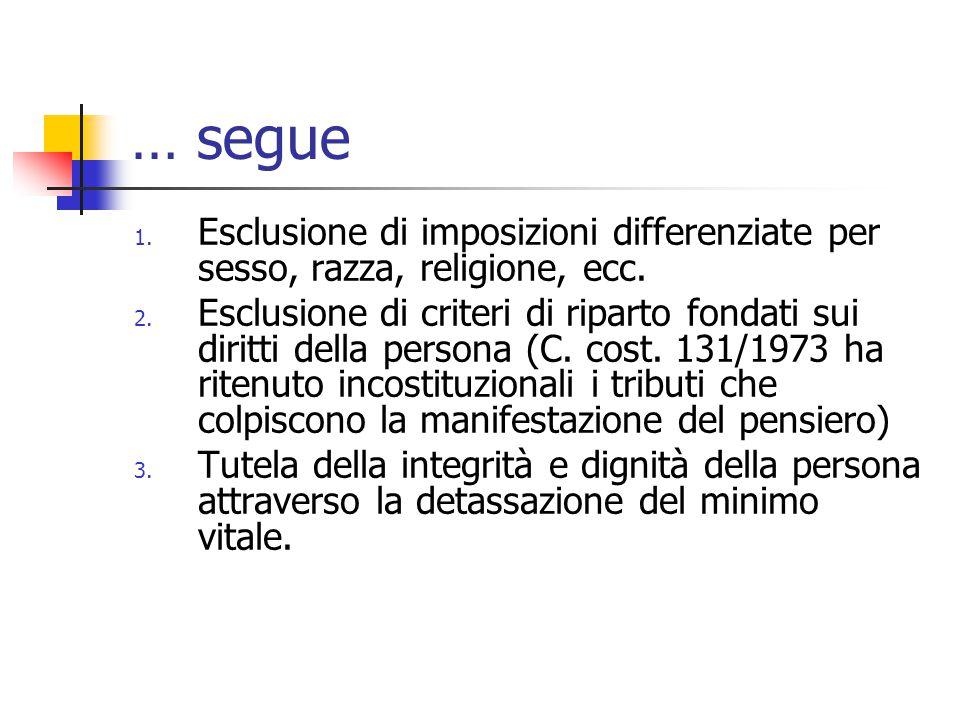 … segue Esclusione di imposizioni differenziate per sesso, razza, religione, ecc.