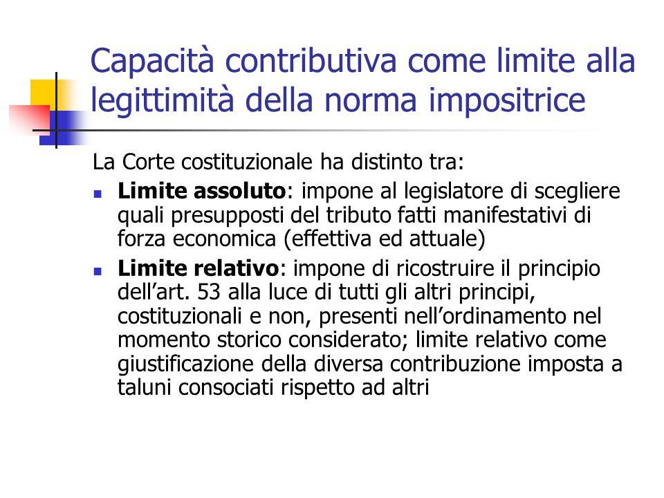 Capacità contributiva come limite alla legittimità della norma impositrice