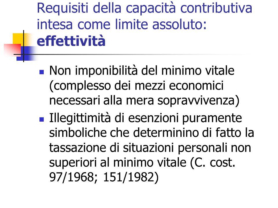 Requisiti della capacità contributiva intesa come limite assoluto: effettività