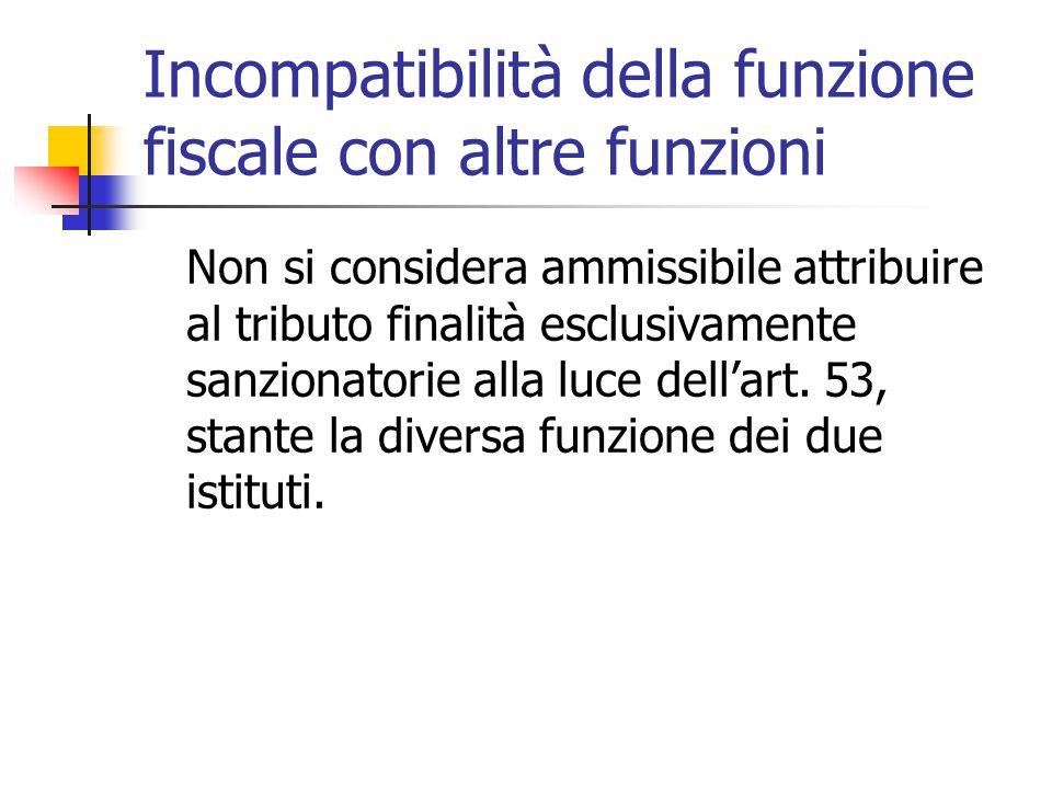 Incompatibilità della funzione fiscale con altre funzioni