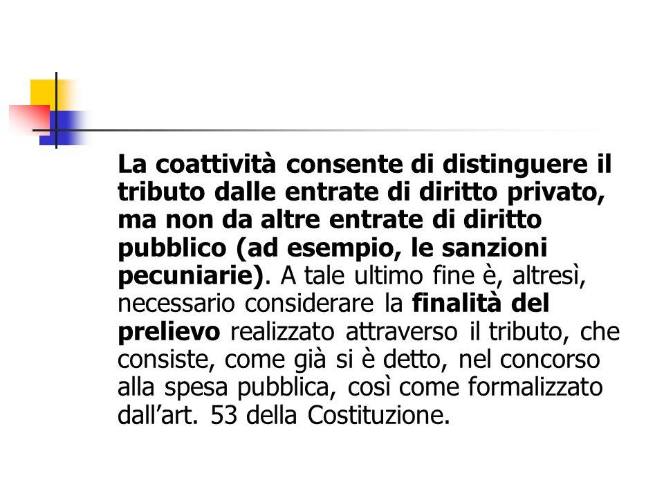 La coattività consente di distinguere il tributo dalle entrate di diritto privato, ma non da altre entrate di diritto pubblico (ad esempio, le sanzioni pecuniarie).