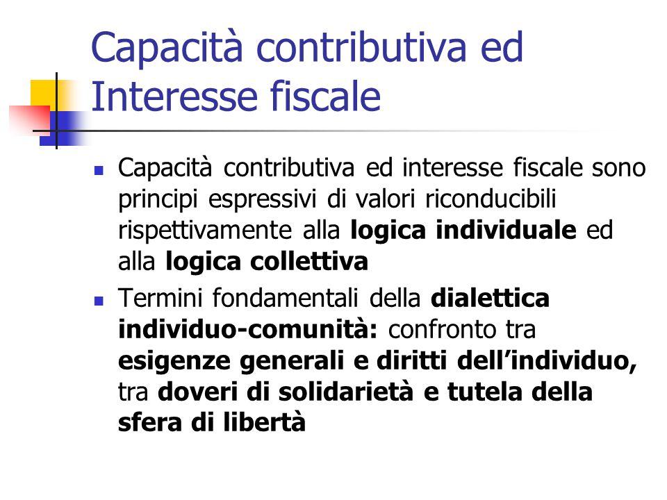 Capacità contributiva ed Interesse fiscale