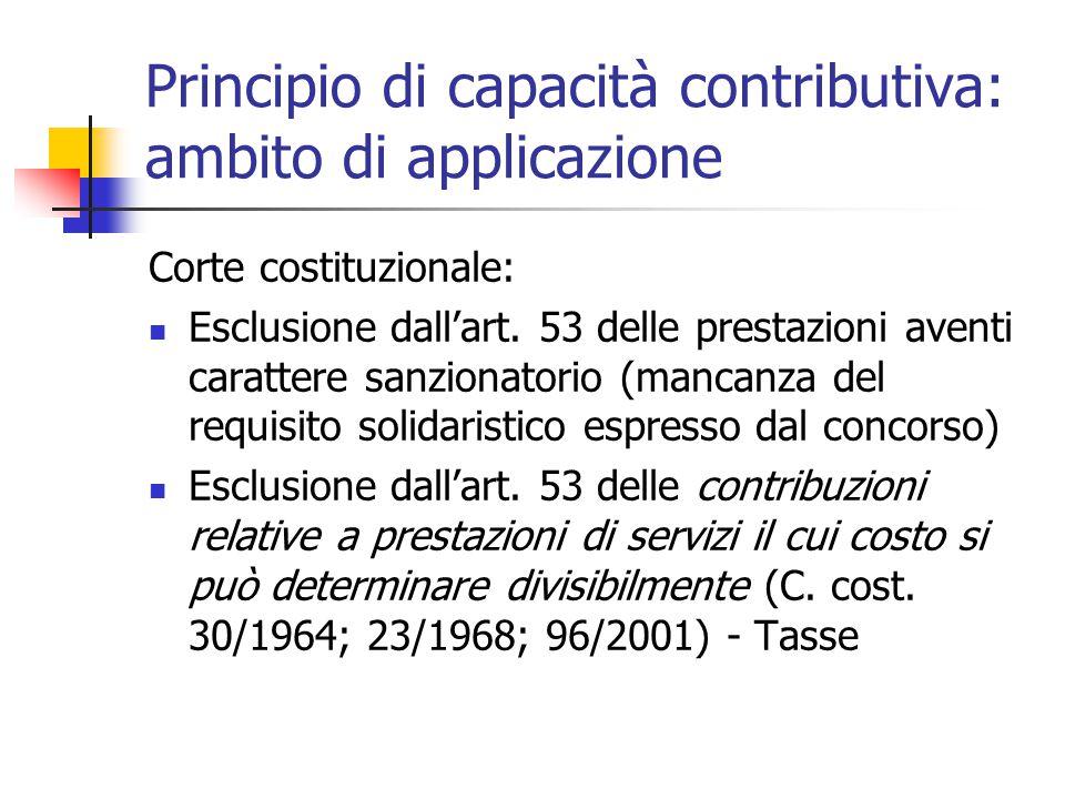 Principio di capacità contributiva: ambito di applicazione