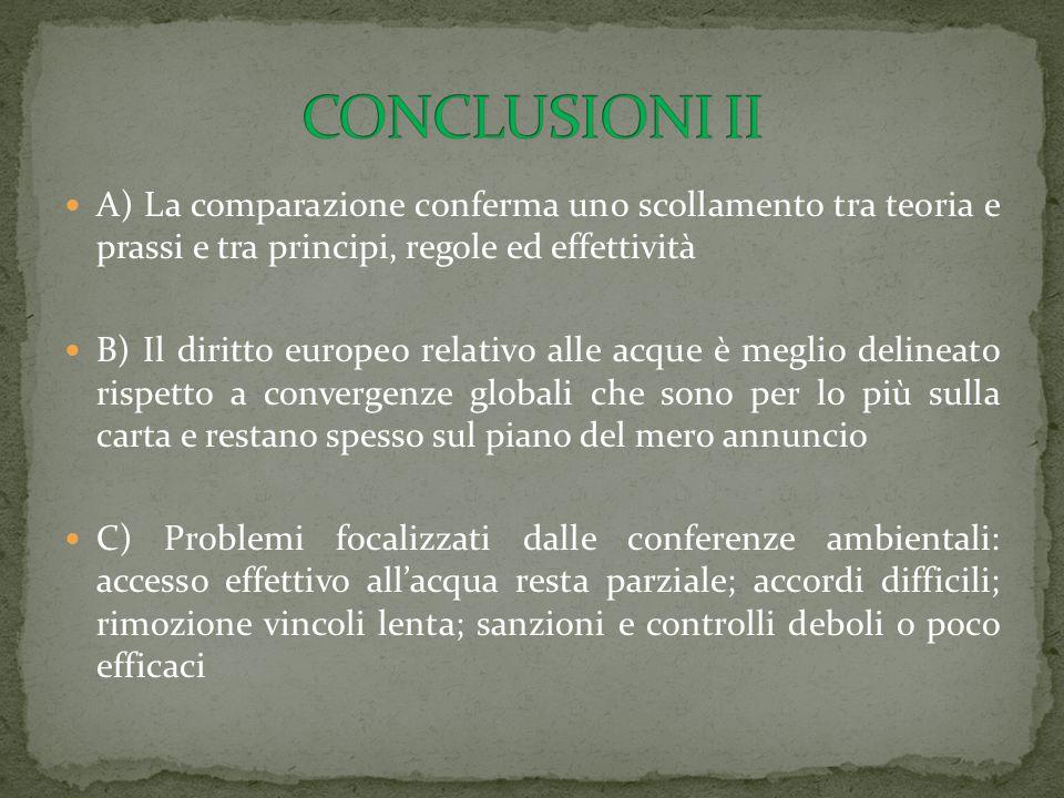 CONCLUSIONI II A) La comparazione conferma uno scollamento tra teoria e prassi e tra principi, regole ed effettività.