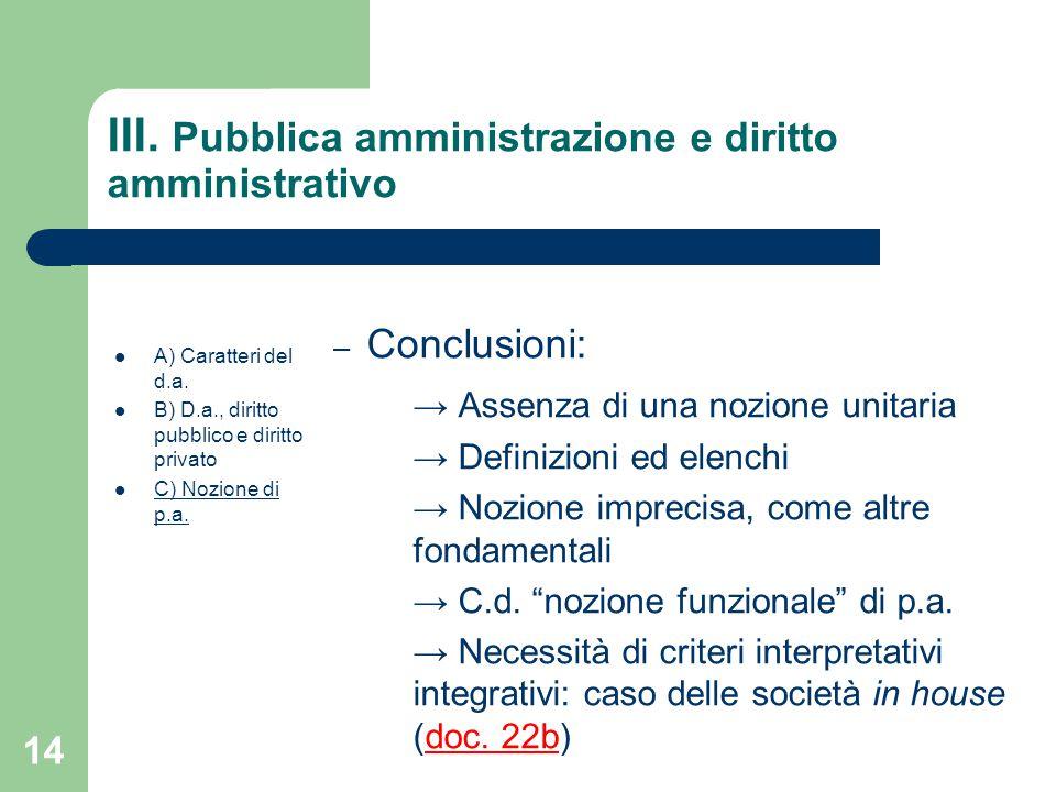III. Pubblica amministrazione e diritto amministrativo