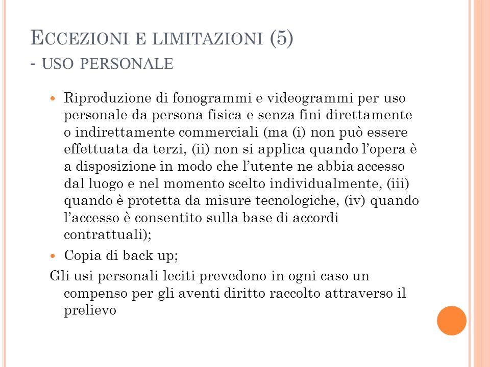 Eccezioni e limitazioni (5) - uso personale