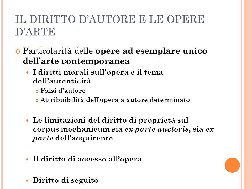 IL DIRITTO D'AUTORE E LE OPERE D'ARTE