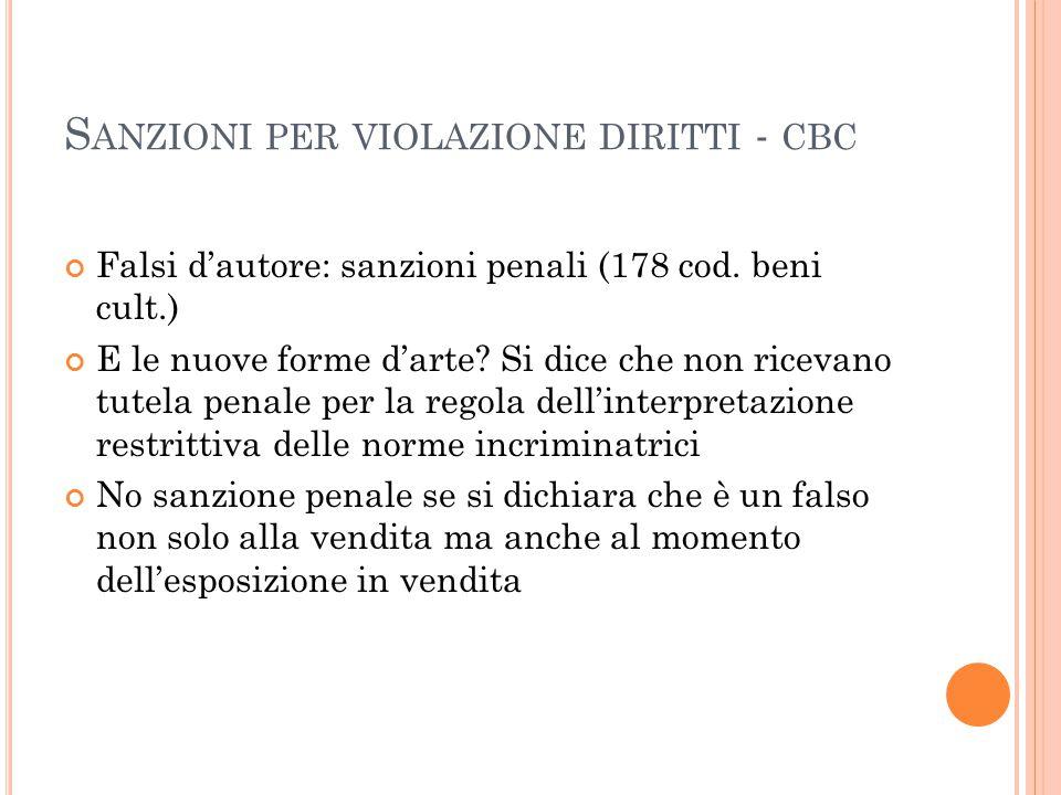 Sanzioni per violazione diritti - cbc
