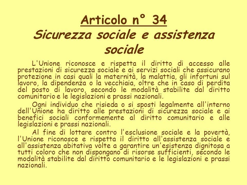 Articolo n° 34 Sicurezza sociale e assistenza sociale