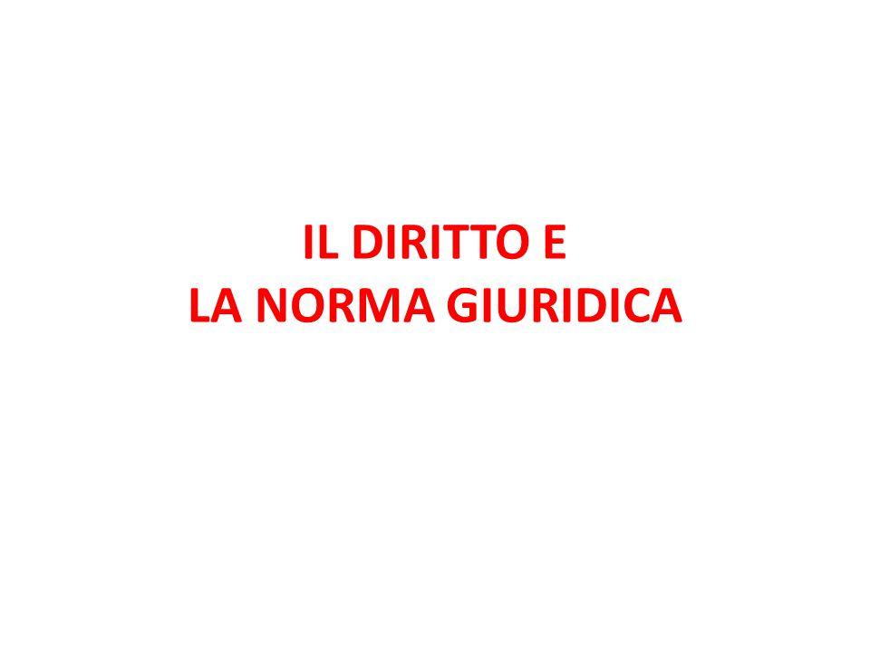 IL DIRITTO E LA NORMA GIURIDICA