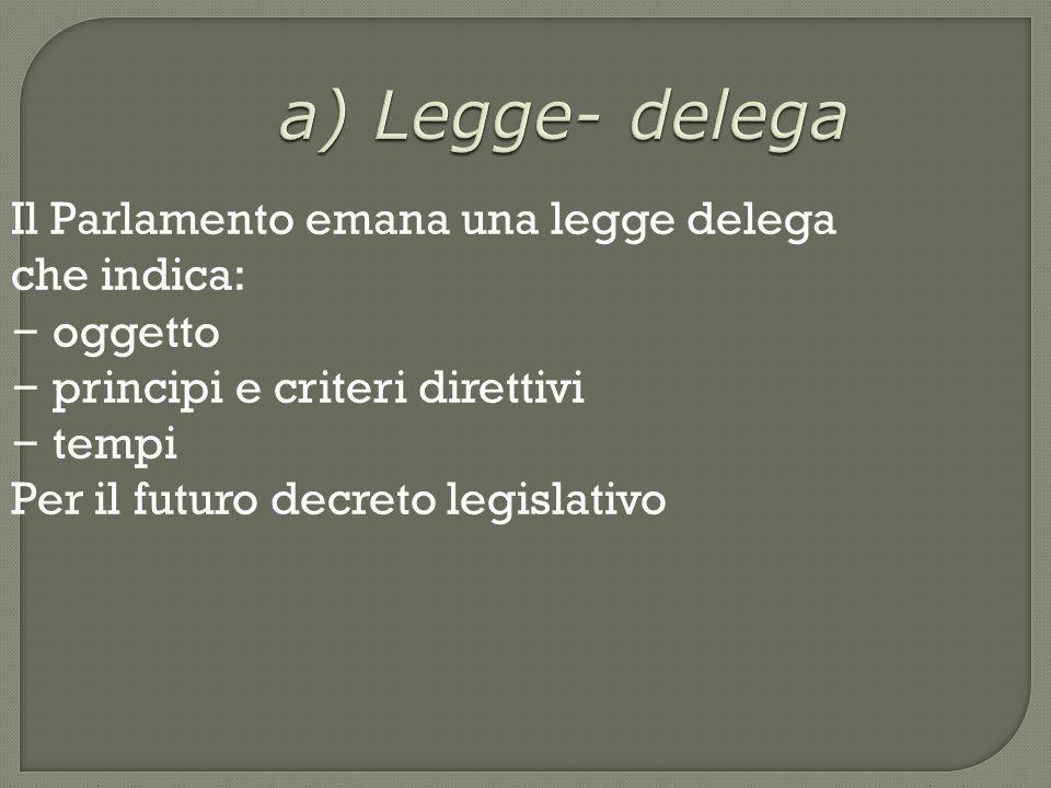 a) Legge- delega Il Parlamento emana una legge delega che indica: