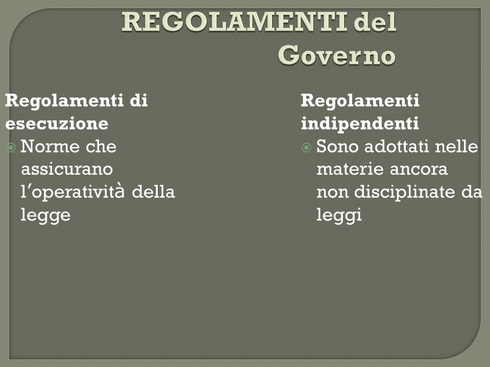 REGOLAMENTI del Governo