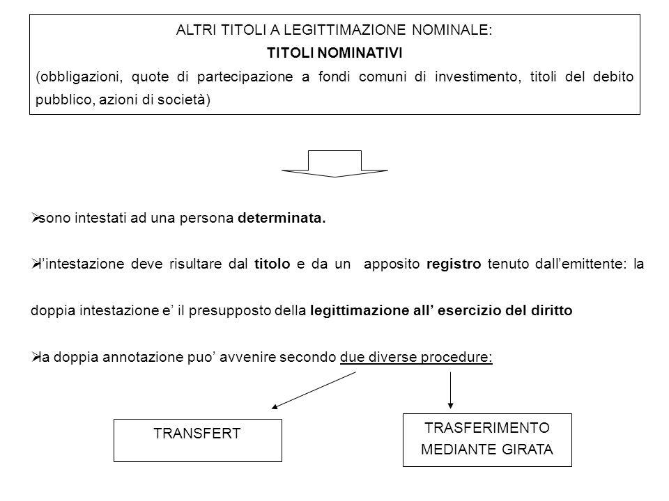 ALTRI TITOLI A LEGITTIMAZIONE NOMINALE: TITOLI NOMINATIVI