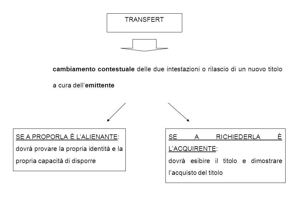 TRANSFERT cambiamento contestuale delle due intestazioni o rilascio di un nuovo titolo a cura dell'emittente.