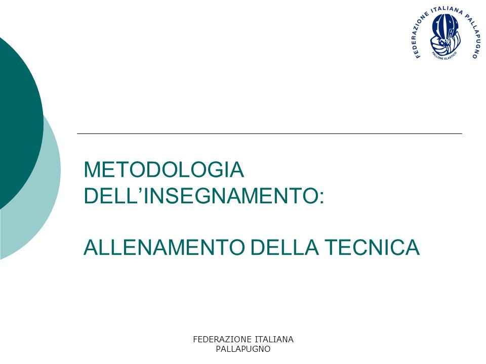 METODOLOGIA DELL'INSEGNAMENTO: ALLENAMENTO DELLA TECNICA