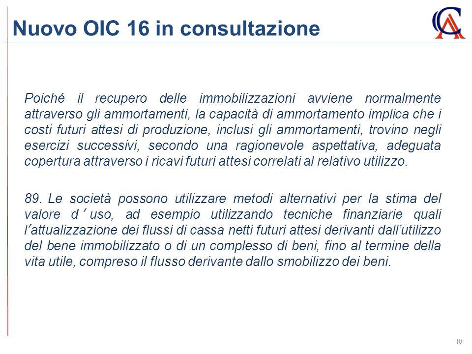 Nuovo OIC 16 in consultazione