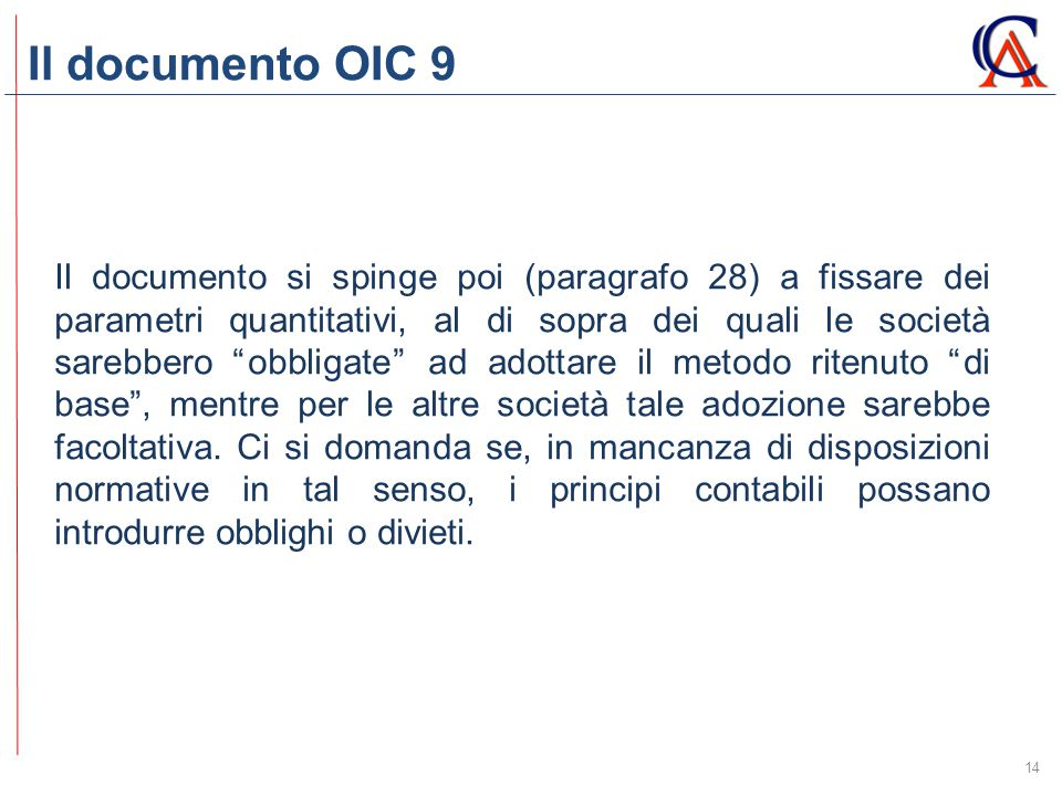 Il documento OIC 9