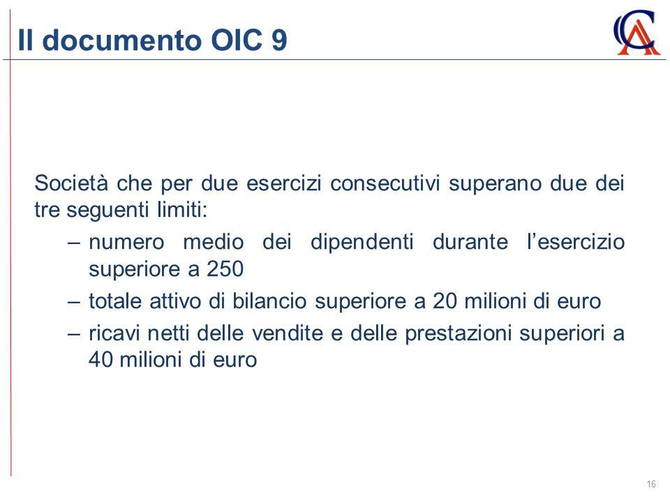Il documento OIC 9 Società che per due esercizi consecutivi superano due dei tre seguenti limiti:
