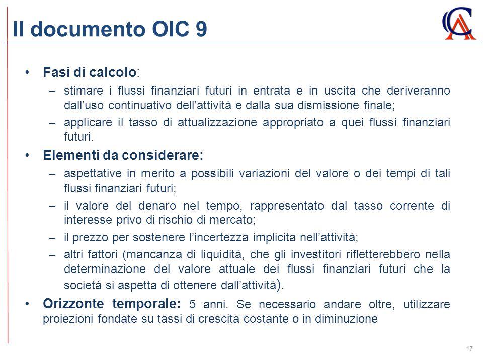 Il documento OIC 9 Fasi di calcolo: Elementi da considerare: