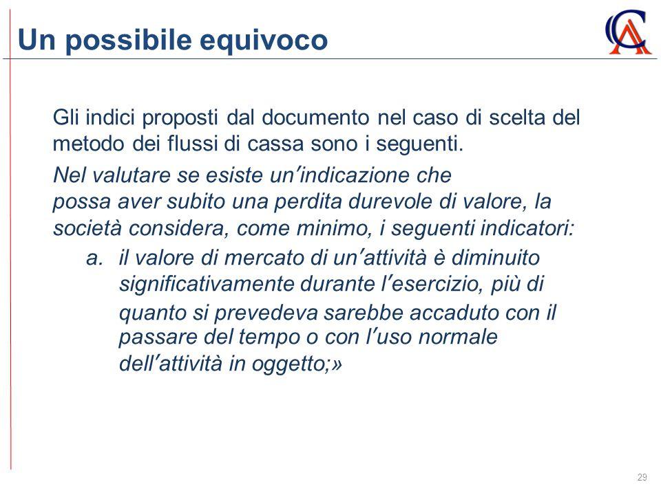 Un possibile equivoco Gli indici proposti dal documento nel caso di scelta del metodo dei flussi di cassa sono i seguenti.