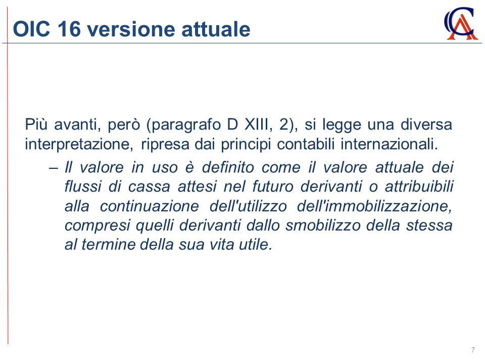 OIC 16 versione attuale Più avanti, però (paragrafo D XIII, 2), si legge una diversa interpretazione, ripresa dai principi contabili internazionali.