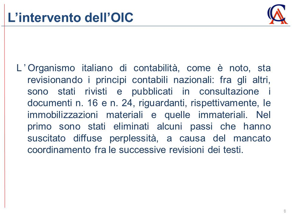 L'intervento dell'OIC