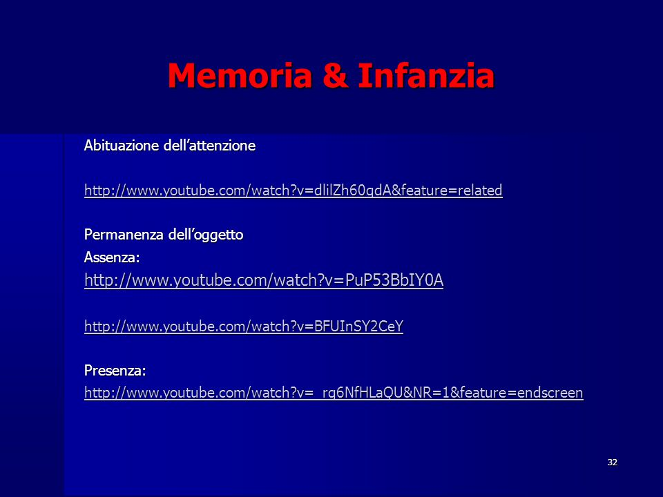 Memoria & Infanzia http://www.youtube.com/watch v=PuP53BbIY0A