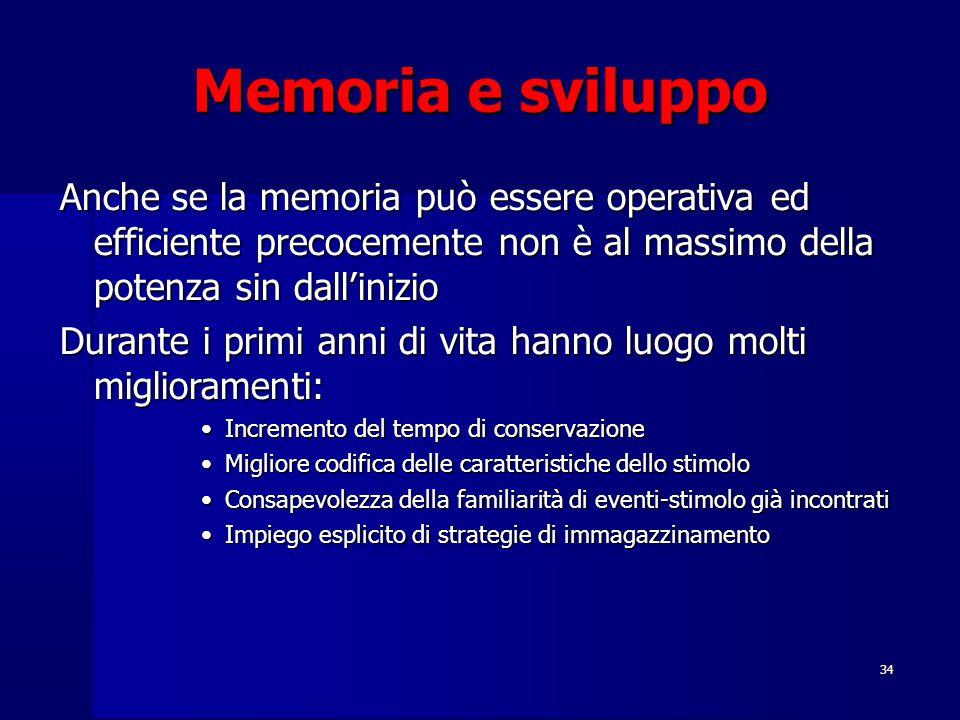 Memoria e sviluppo Anche se la memoria può essere operativa ed efficiente precocemente non è al massimo della potenza sin dall'inizio.