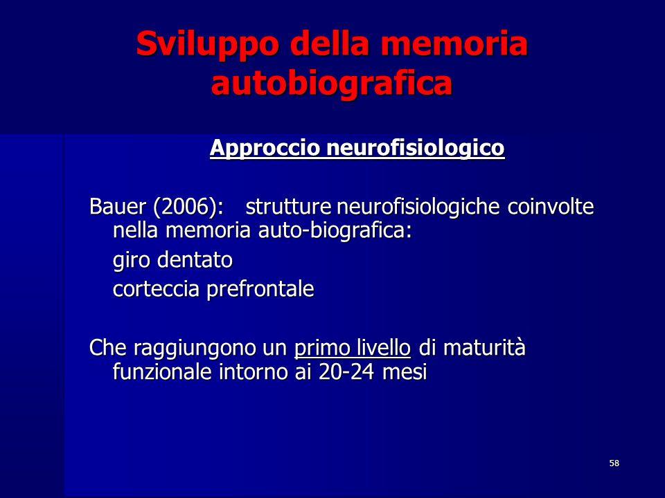 Sviluppo della memoria autobiografica Approccio neurofisiologico