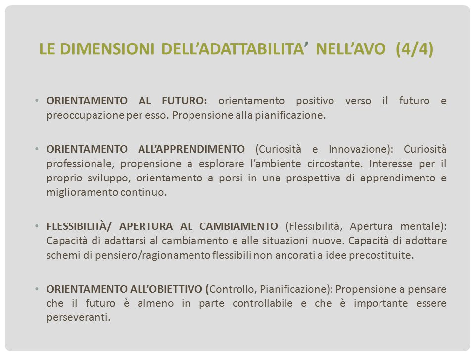LE DIMENSIONI DELL'ADATTABILITA' NELL'AVO (4/4)