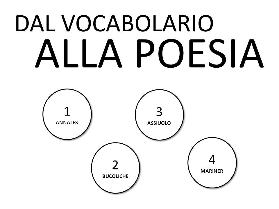 DAL VOCABOLARIO ALLA POESIA 1 ANNALES 3 ASSIUOLO 4 MARINER 2 BUCOLICHE