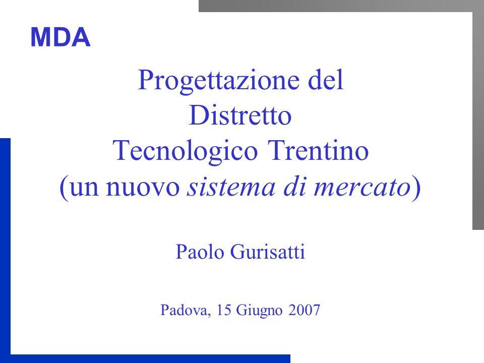 Progettazione del Distretto Tecnologico Trentino (un nuovo sistema di mercato) Paolo Gurisatti Padova, 15 Giugno 2007