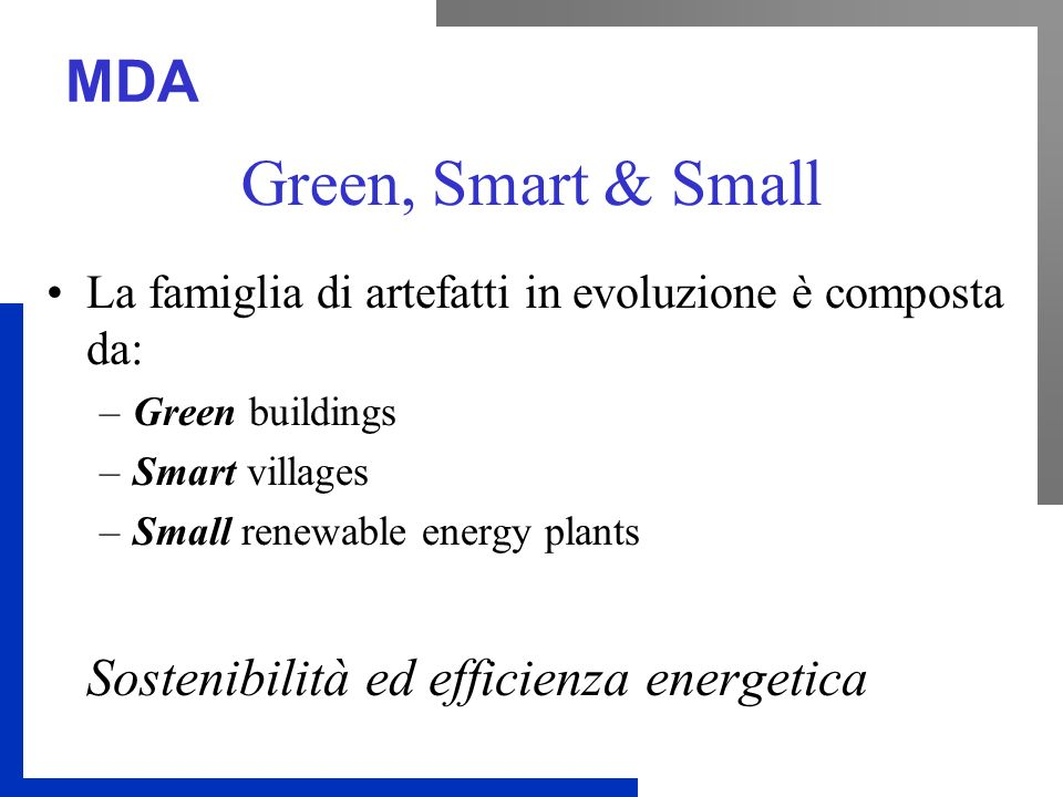 Green, Smart & Small Sostenibilità ed efficienza energetica