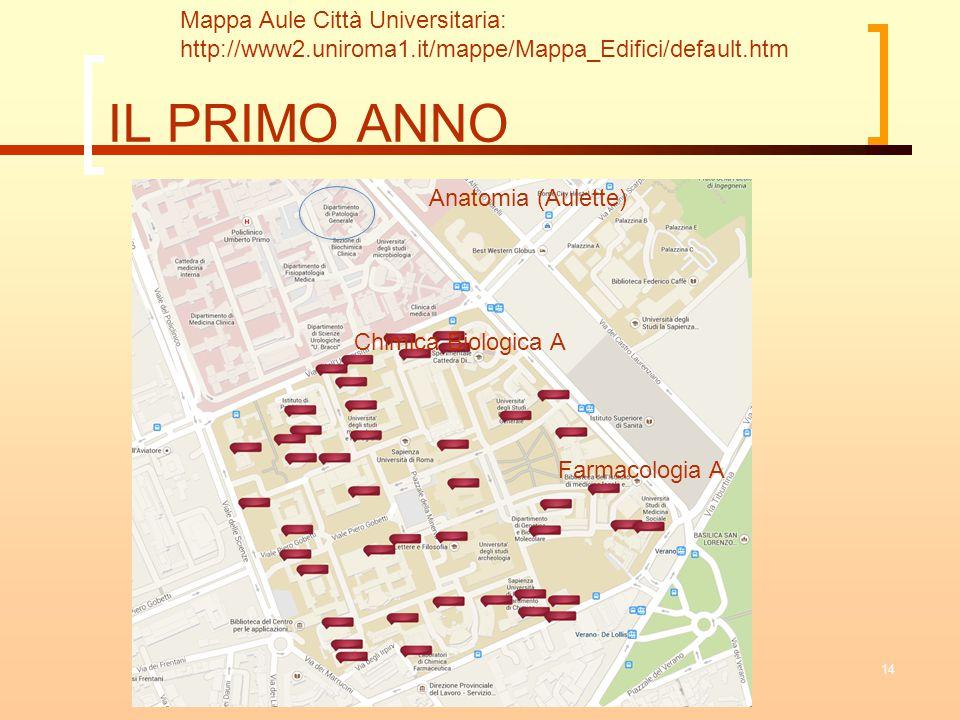 IL PRIMO ANNO Mappa Aule Città Universitaria:
