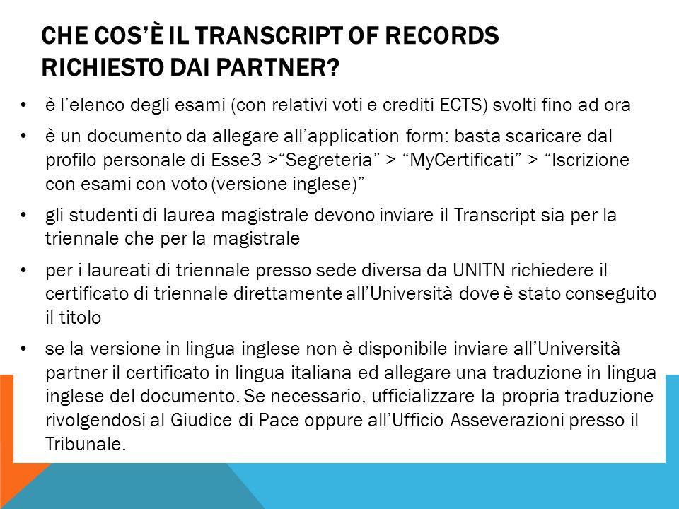 CHE COS'È IL TRANSCRIPT OF RECORDS RICHIESTO DAI PARTNER