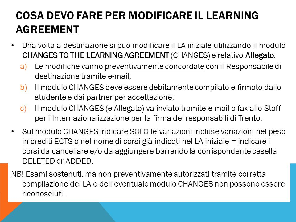 Cosa devo fare per modificare il learning agreement