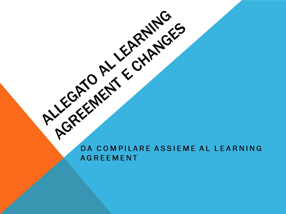 ALLEGATO AL LEARNING AGREEMENT e changes