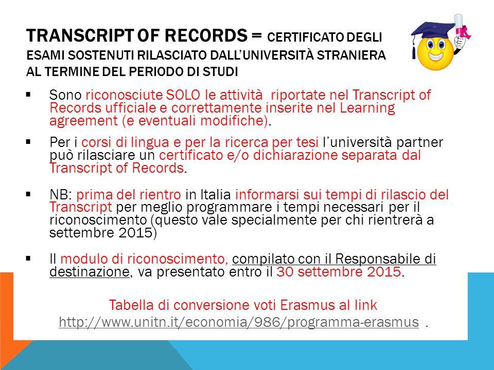 TRANSCRIPT OF RECORDS = CERTIFICATO DEGLI ESAMI SOSTENUTI RILASCIATO DALL'UNIVERSITÀ STRANIERA AL TERMINE DEL PERIODO DI STUDI