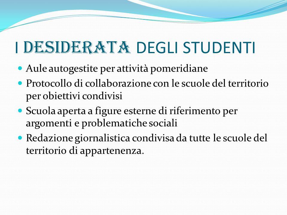 I DESIDERATA DEGLI STUDENTI