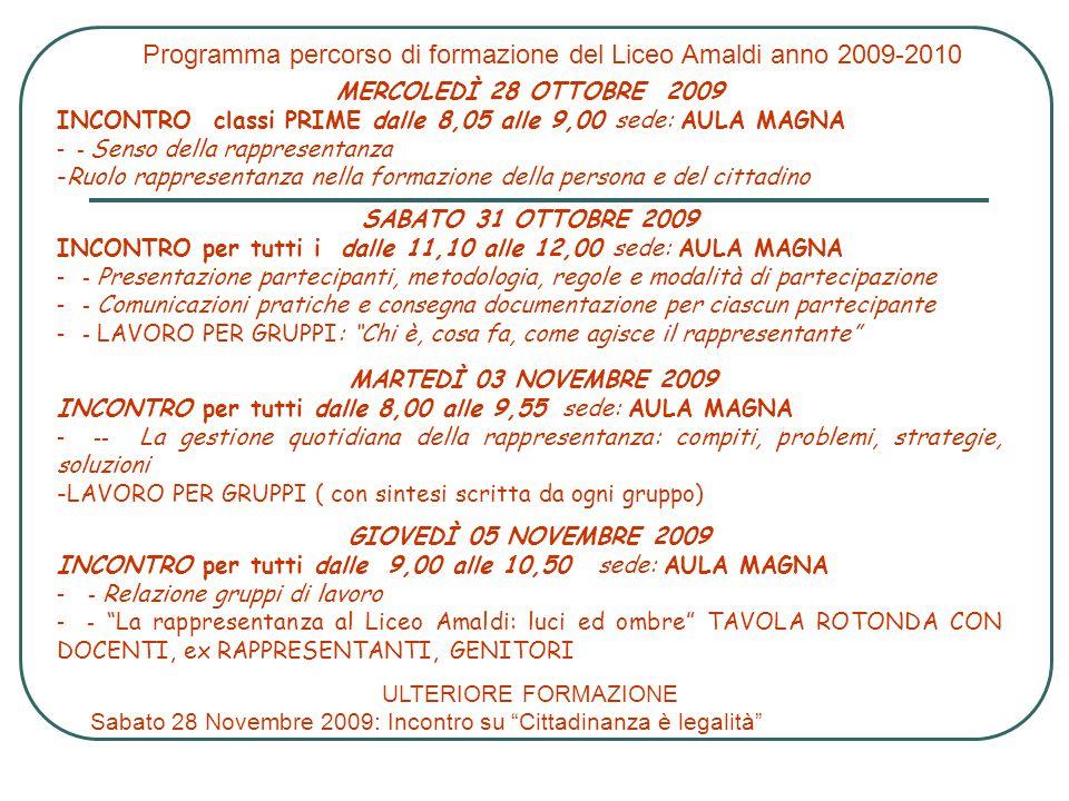 Programma percorso di formazione del Liceo Amaldi anno 2009-2010