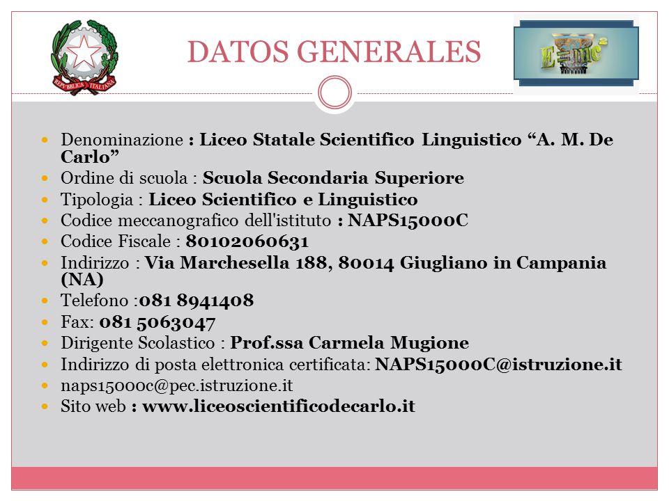 DATOS GENERALES Denominazione : Liceo Statale Scientifico Linguistico A. M. De Carlo Ordine di scuola : Scuola Secondaria Superiore.