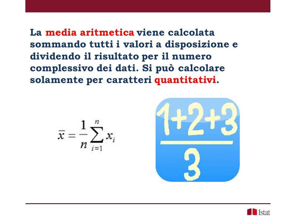 La media aritmetica viene calcolata sommando tutti i valori a disposizione e dividendo il risultato per il numero complessivo dei dati.