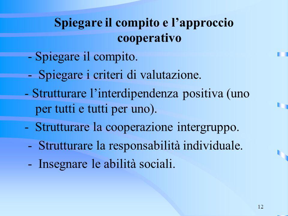 Spiegare il compito e l'approccio cooperativo