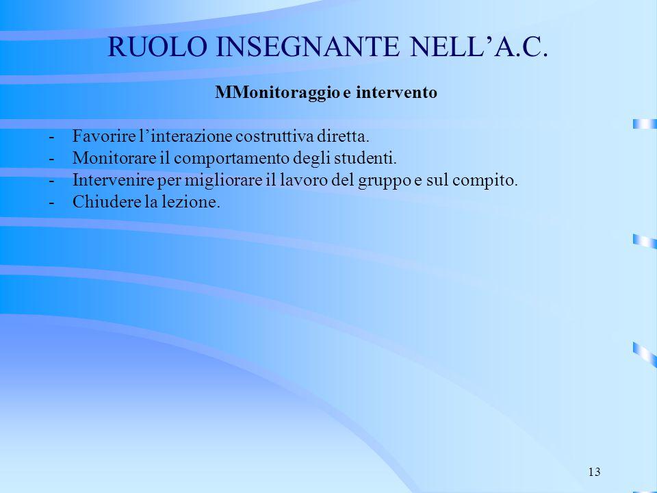 RUOLO INSEGNANTE NELL'A.C.